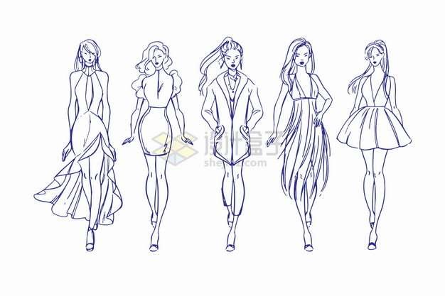 5款时装模特儿走猫步走秀线条素描插画png图片素材