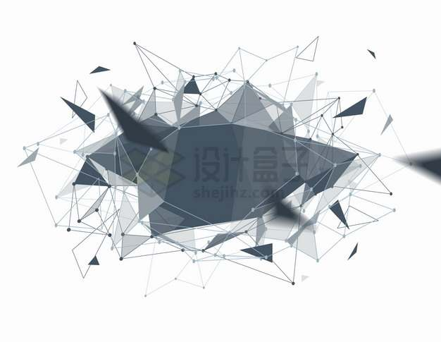 圆点线条和三角形碎片爆炸多边形组成的标题框文本框png图片素材