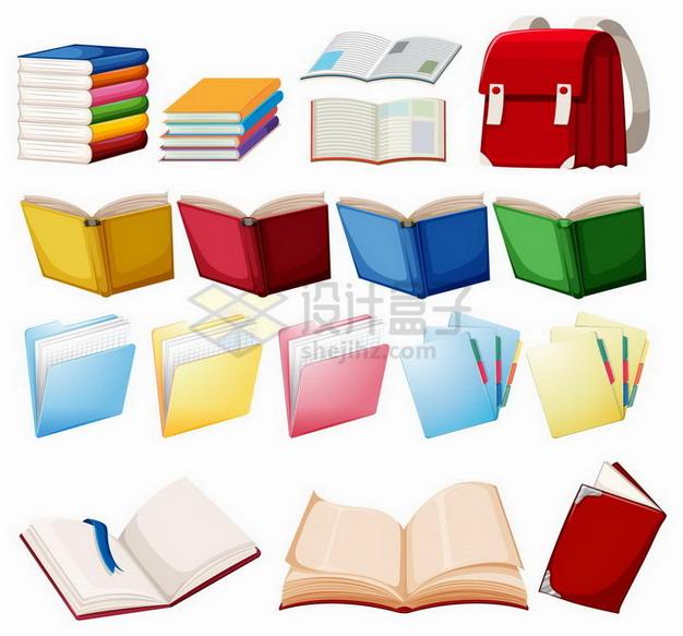 各种卡通书本书包记事本等学生用品png图片免抠矢量素材 教育文化-第1张