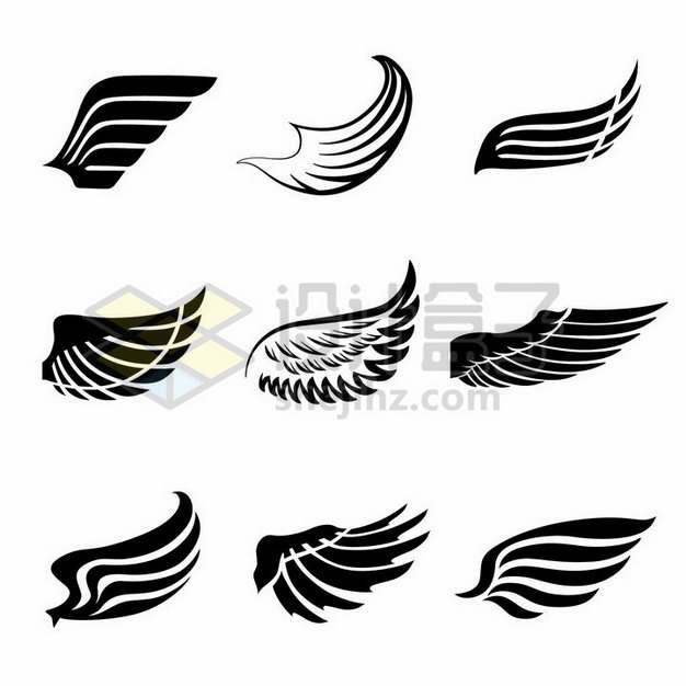 9款黑色手绘风格翅膀羽毛图案png图片素材
