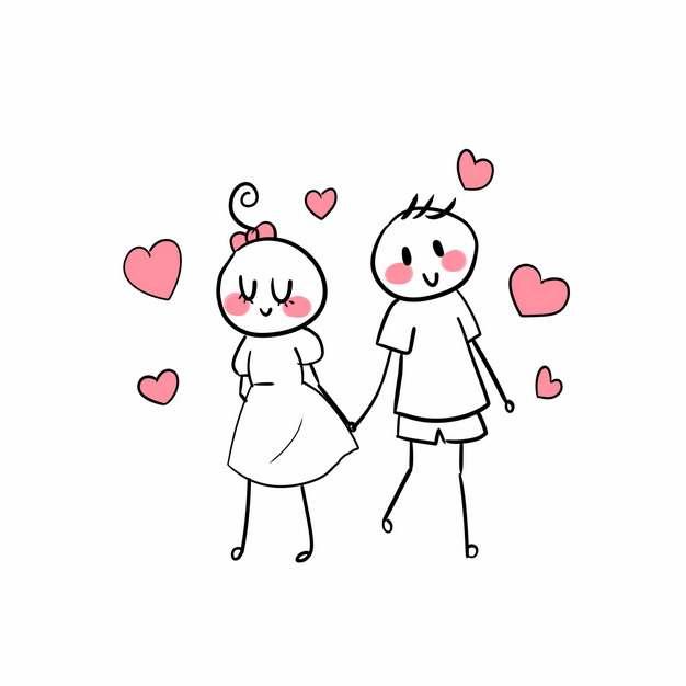 卡通线条情侣手牵手png图片素材