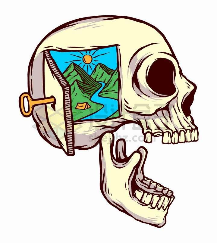 抽象骷髅头上打开的一扇门外的风景手绘插画png图片免抠矢量素材