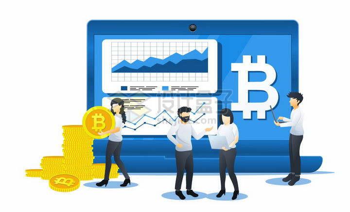 蓝色扁平插画风格在笔记本电脑上查看比特币的年轻人png图片免抠矢量素材