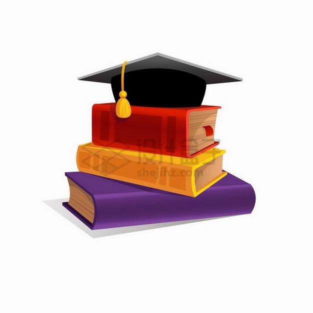 堆放在一起的书本书籍和上面的博士帽png图片免抠矢量素材 教育文化-第1张