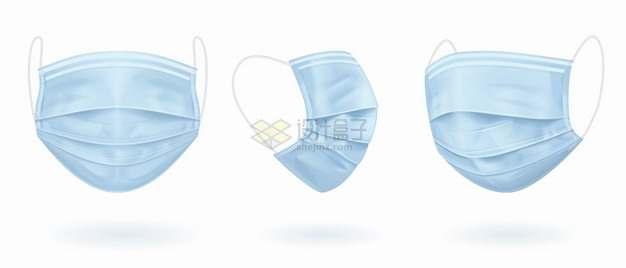 3个不同角度的淡蓝色一次性医用口罩医疗用品png图片素材