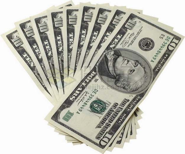 扇形散开的10美元钞票纸币png图片素材