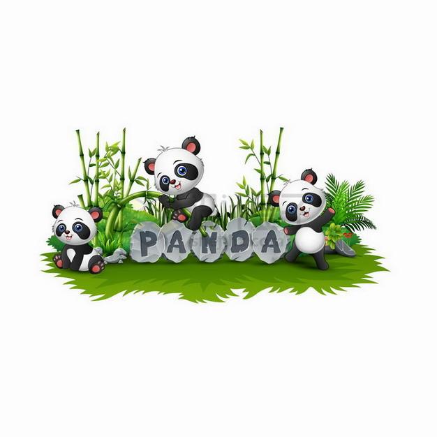三只坐在草地上的卡通熊猫和竹子png图片免抠矢量素材 生物自然-第1张