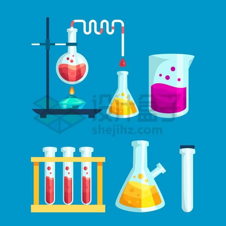 卡通酒精灯烧杯烧瓶锥形瓶试管等化学实验仪器装置png图片免抠矢量素材