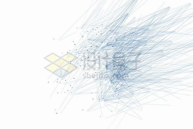蓝色点和线条组成的抽象图案png图片素材