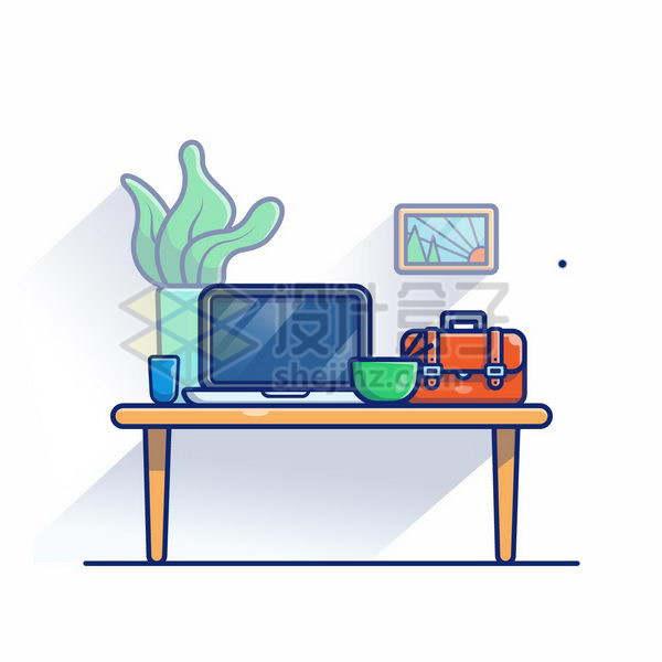 MBE风格木头桌子上的笔记本电脑和公文包png图片免抠矢量素材