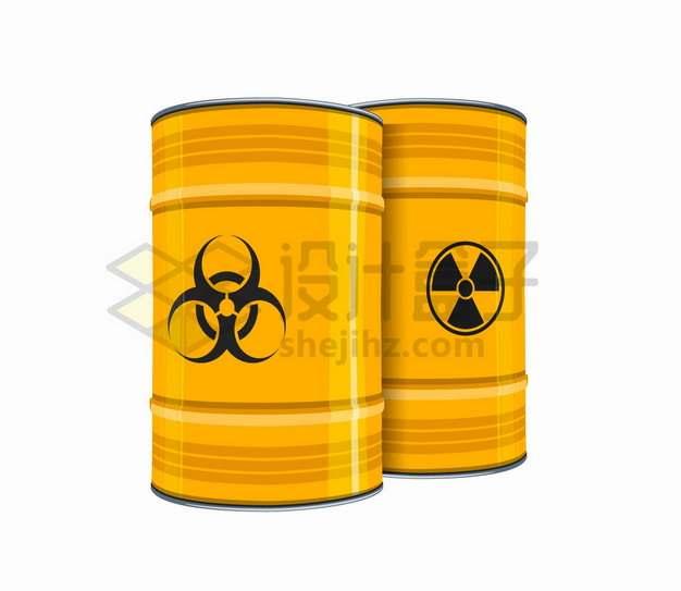 黄色的危险化工原料桶核废料桶铁桶png图片素材
