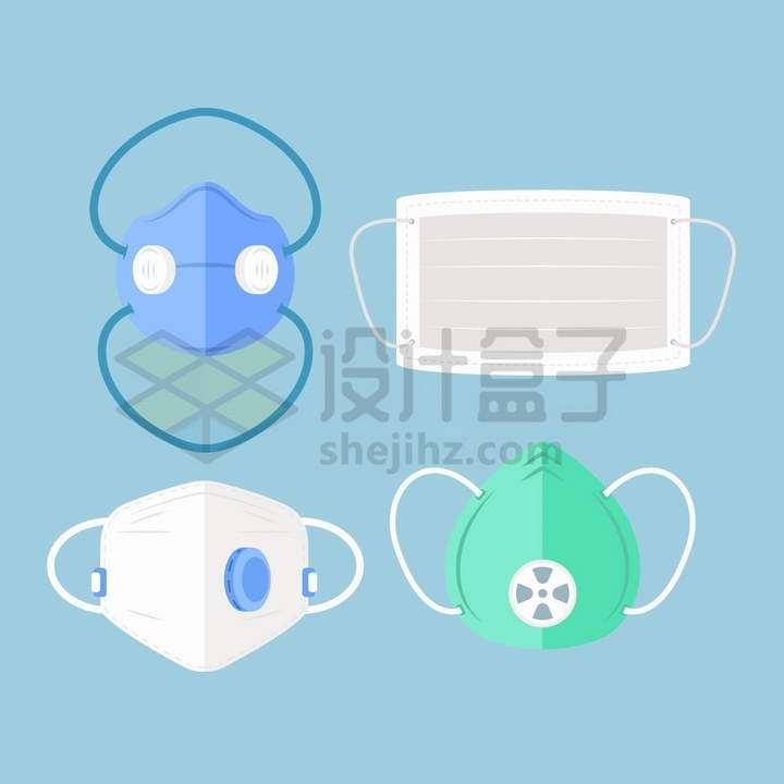 4款带呼吸阀的口罩和一次性医用口罩医疗用品png图片免抠矢量素材