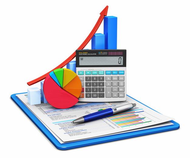 商务报告上的计算器数据增长箭头png图片素材 商务职场-第1张