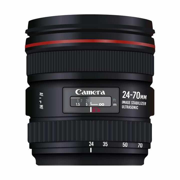 一款逼真的佳能数码单反照相机的镜头png图片免抠矢量素材