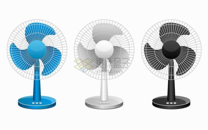 三种颜色的电风扇家用电器png图片素材
