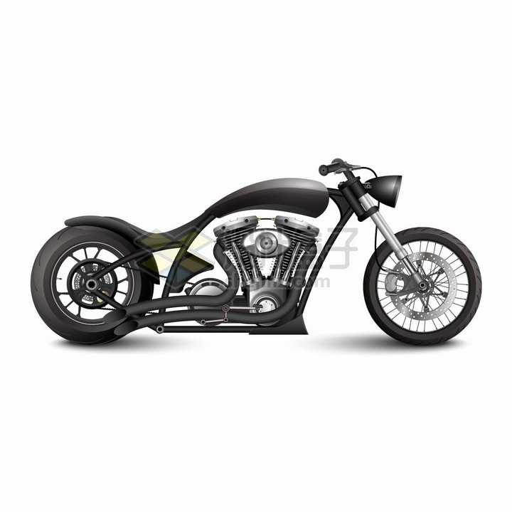 超酷黑色复古老式摩托车png图片素材