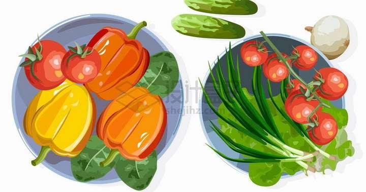 放入盘中的灯笼椒西红柿青菜香葱生菜等蔬菜彩绘插图png图片免抠矢量素材