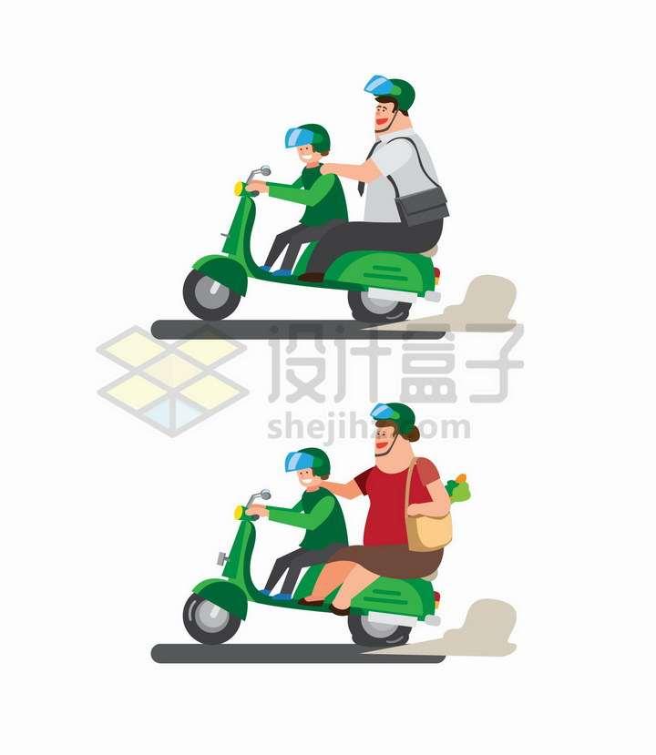 2款骑摩托车电动车载人带着胖子png图片免抠矢量素材