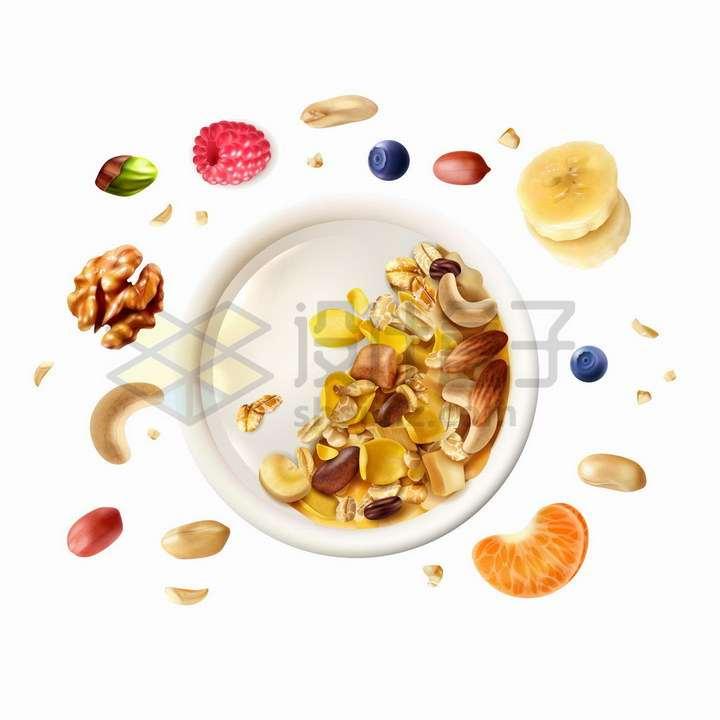 牛奶什锦早餐香蕉花生核桃橘子等坚果水果美味美食png图片免抠矢量素材