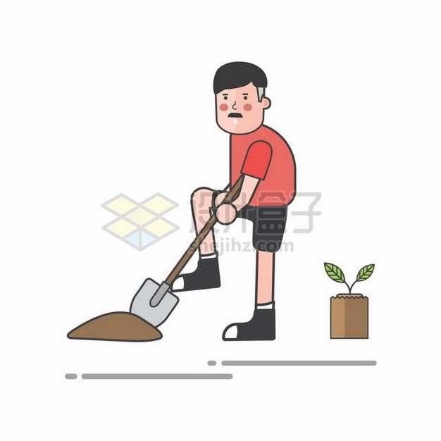 扁平化风格正在挖土种树的年轻人植树节png图片免抠矢量素材