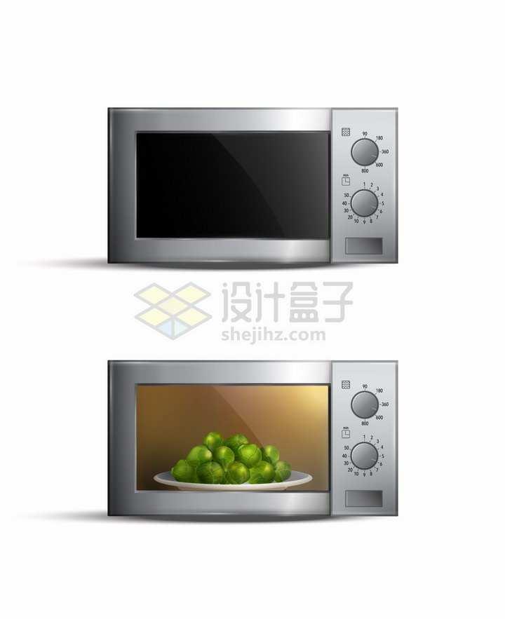 使用中的金属银色微波炉厨房电器png图片素材
