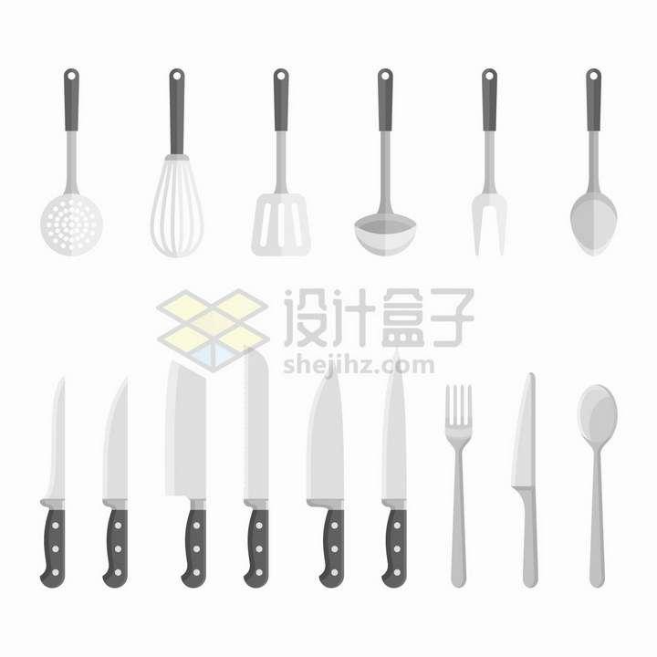 漏勺打蛋器铲子汤勺菜刀等厨房用品png图片免抠矢量素材