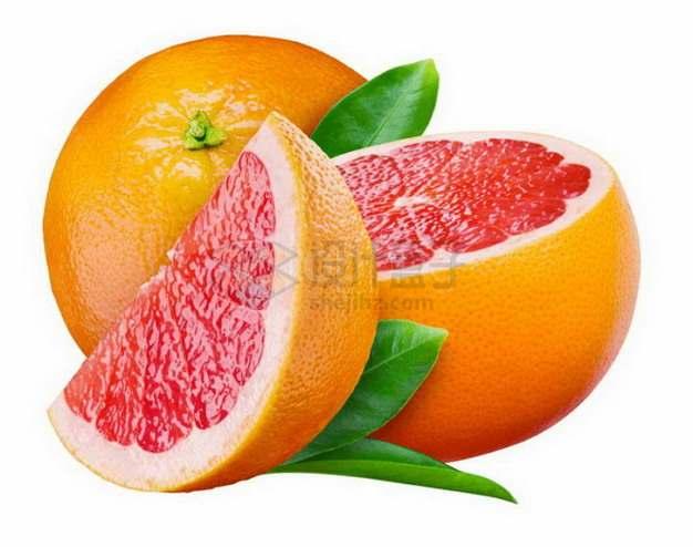 切开的美味红心柚子琯溪蜜柚png图片素材