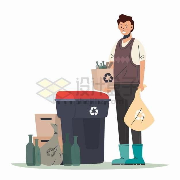 在垃圾桶前扔垃圾的年轻人垃圾分类手抄报png图片素材