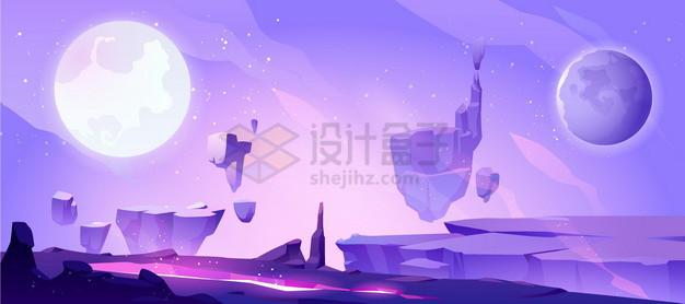 紫色的悬空岛外星球科幻风景插画png图片素材 背景-第1张