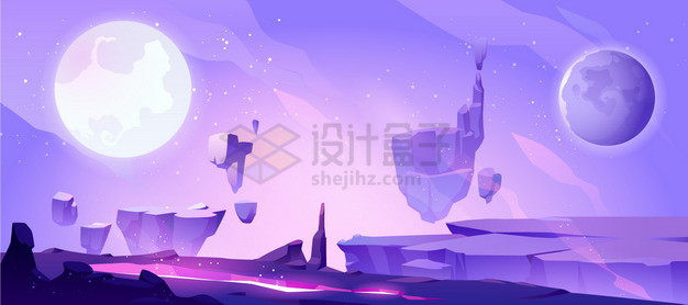 紫色的悬空岛外星球科幻风景插画png图片素材