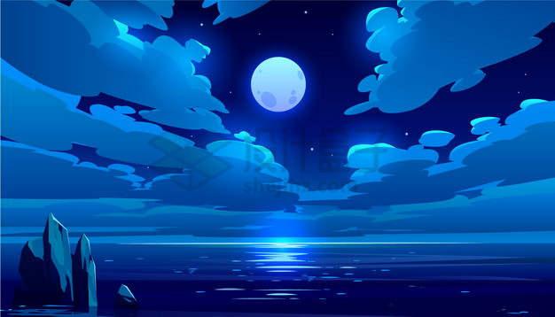 蓝色的月亮和大海风景漫画插画png图片素材
