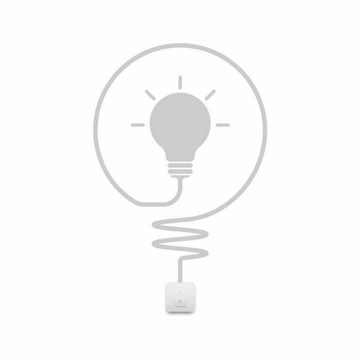 灰色的电源开关和创意电灯泡图案png图片免抠矢量素材