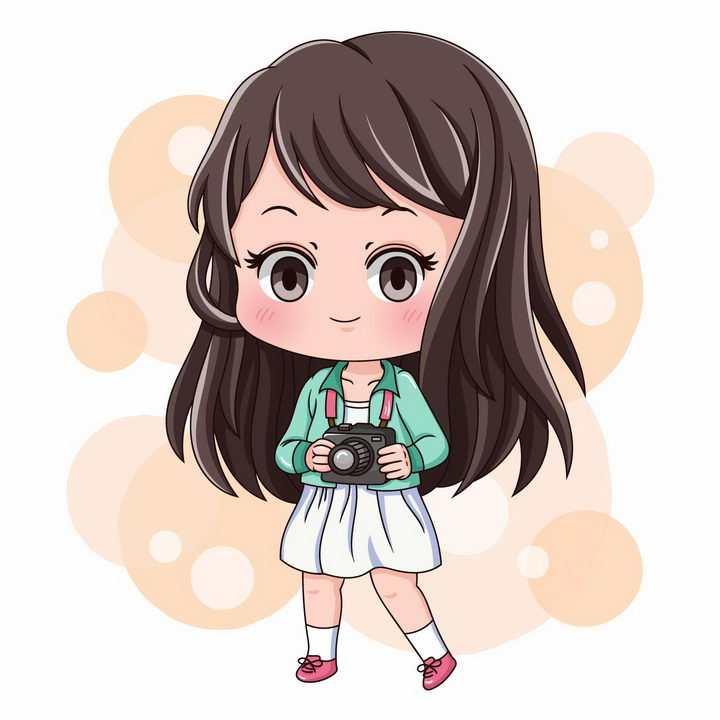 可爱的卡通小女孩胸前挂着照相机拍照png图片免抠矢量素材