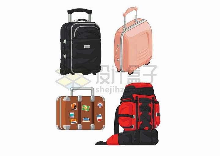 4款旅行箱旅行包和背包png图片免抠矢量素材