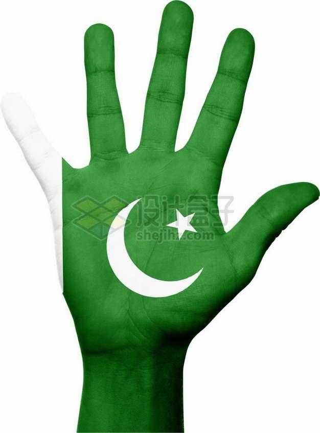 印有巴基斯坦国旗图案的手掌png免抠图片素材