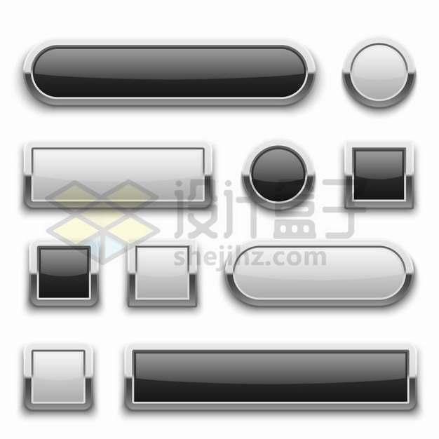 各种金属边框玻璃光泽按钮png图片素材