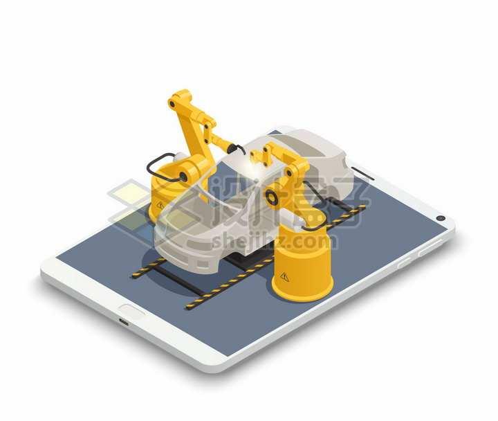 2.5D风格平板电脑上的机械手臂组装汽车工厂生产流水线png图片素材
