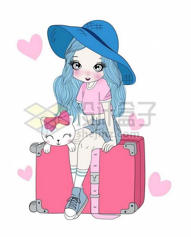手绘卡通少女坐在红色行李箱上png图片素材
