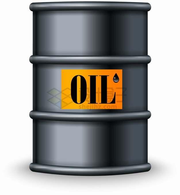 黑色金属色石油桶原油桶png图片素材
