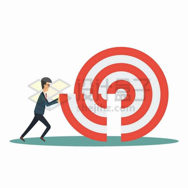 卡通商务人士将丢失靶子的一部分拼接回去象征了目标的达成png图片免抠矢量素材