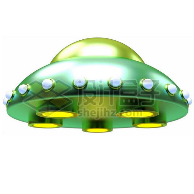 绿色卡通飞碟UFO不明飞行物png图片素材724497 军事科幻-第1张