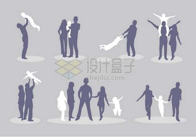 有爱的一家人一家三口一家四口剪影插画715174png图片素材