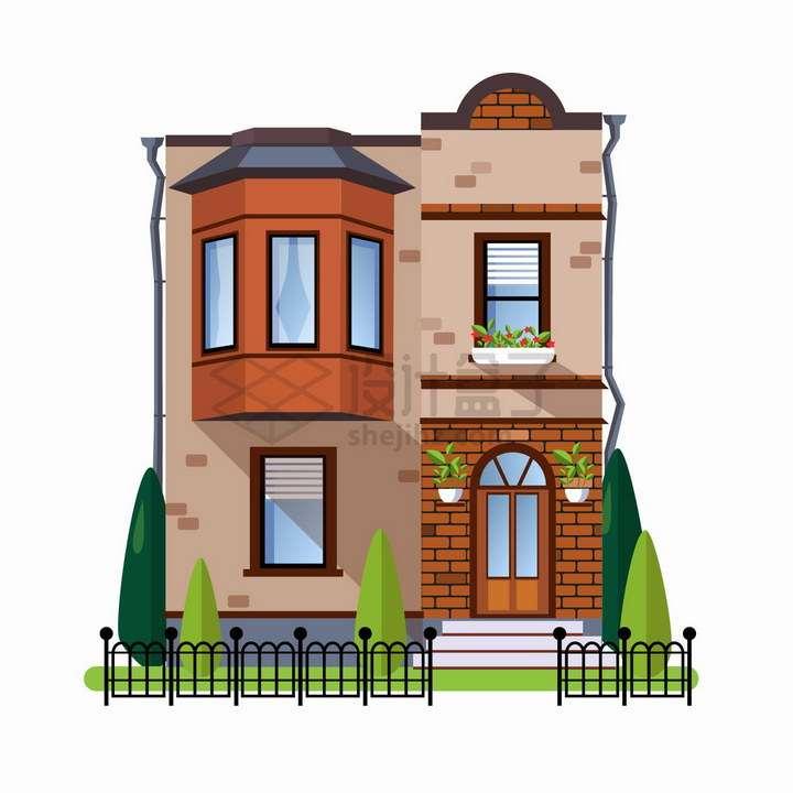 带飘窗的二层别墅扁平化房子png图片免抠矢量素材