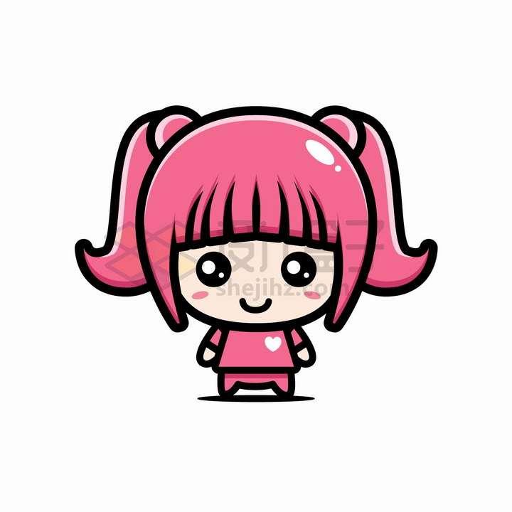 超可爱大头粉色卡通女孩png图片免抠矢量素材