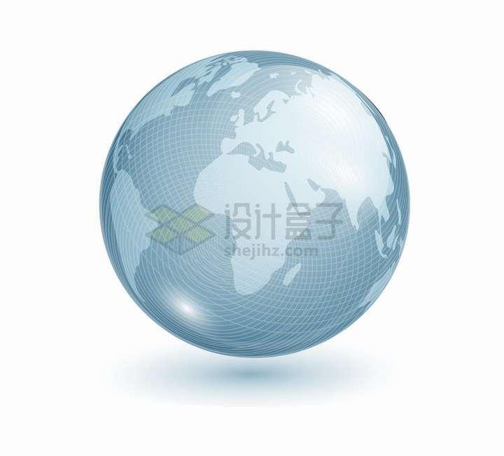 水晶玻璃发光风格的蓝色地球模型png图片免抠eps矢量素材