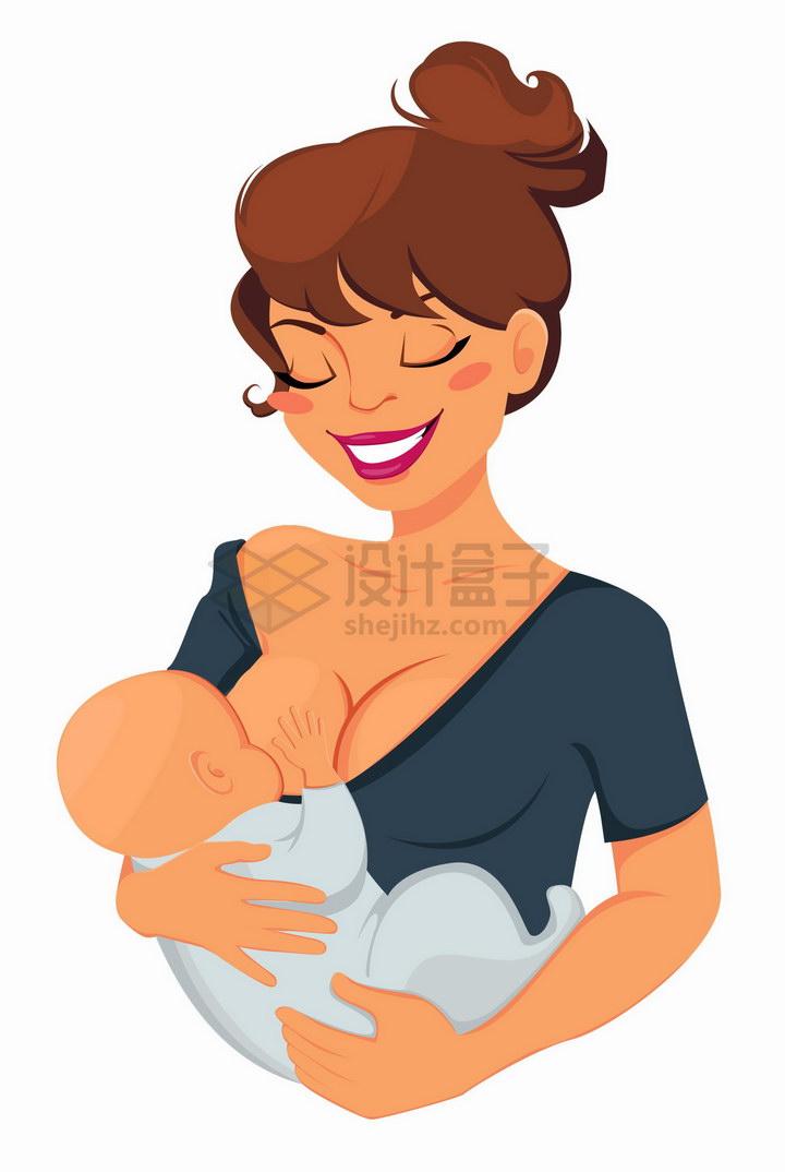 抱着宝宝婴儿哺乳喂奶的卡通妈妈png图片免抠矢量素材 人物素材-第1张