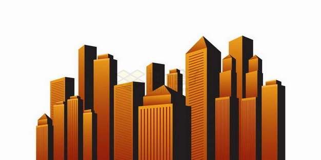 橙色夕阳照耀下的高楼大厦城市天际线建筑群png图片免抠矢量素材