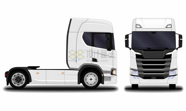 白色卡车头侧视图和正面图988806png图片素材
