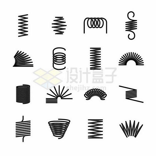 16款不同弯曲状态的黑色弹簧png图片免抠矢量素材 线条形状-第1张