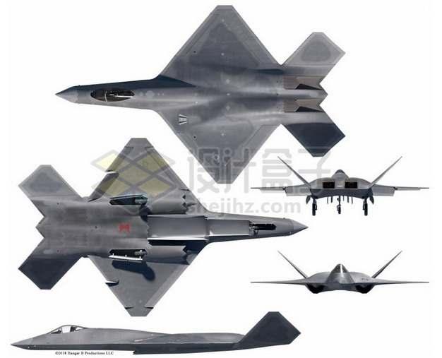 YF-23战斗机上下前后视图png免抠图片素材
